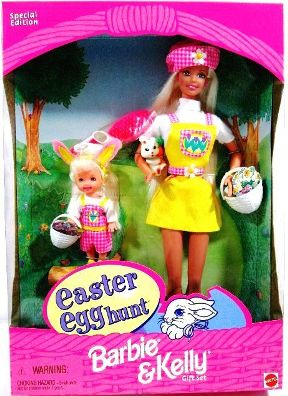 2007 Barbie Kelly Easter Bunny bloude hair mattel