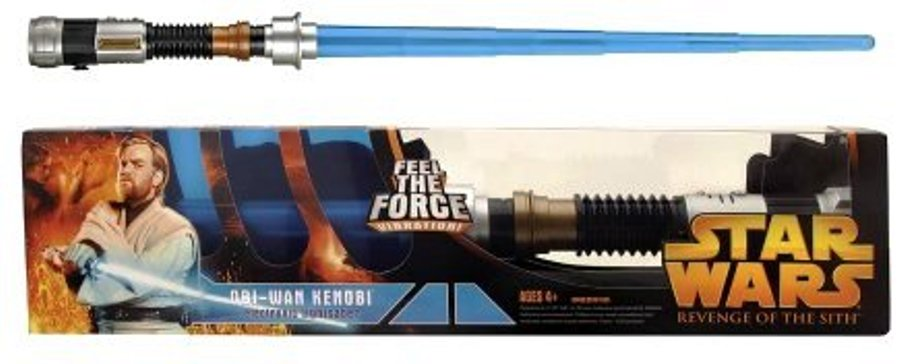 Obi Wan Kenobi Feel The Force Vibration Electronic Lightsaber Star Wars Revenge Of The Sith Ep Iii Vintage Series Rare Vintage 2005 Now And Then Collectibles