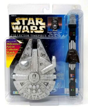 """Darth Vader Collector Timepiece """"(w/Millennium Falcon Collector Watch Case)"""" Star Wars The Power Of The Force Vintage Collection Series """"Rare-Vintage"""" (1996)"""