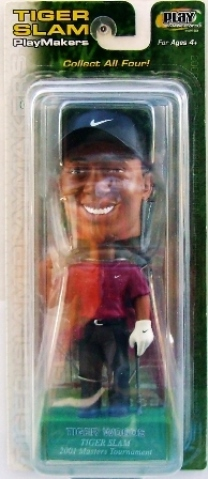 """Tiger Woods 2001 """"Tiger Slam # 4 of 4 PGA 2001 Masters Tournament-Red/Black Uniform-Green Base"""" (Upper Deck Play Makers Collection Series) """"Rare-Vintage"""" (2001)"""
