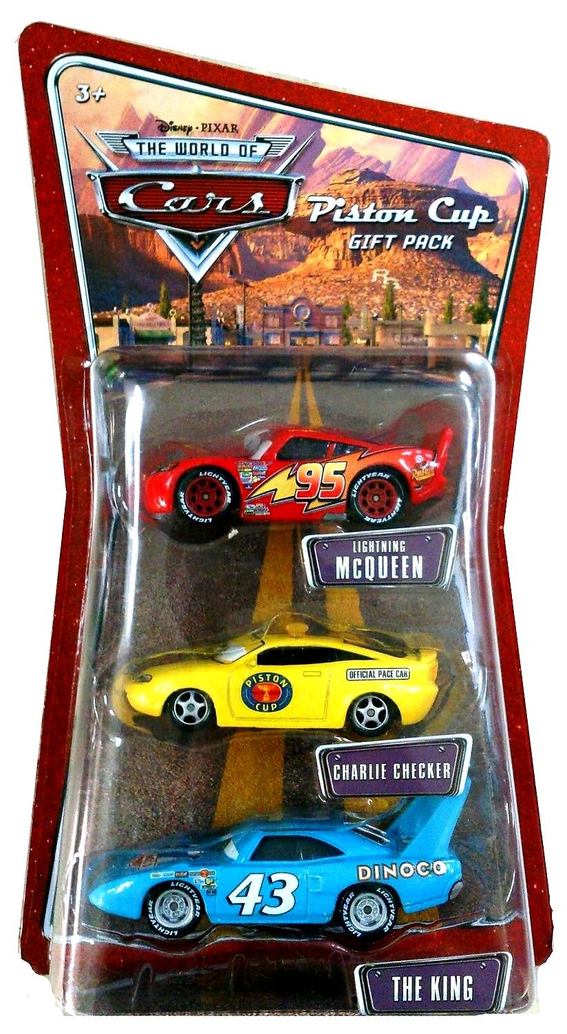 Piston Cup 3 Pc Gift Pack W Mcqueen Charlie Checker The King The World Of Cars Series 3 Disney Pixar Cars Movie Collectible Series Rare Vintage 2008 Now