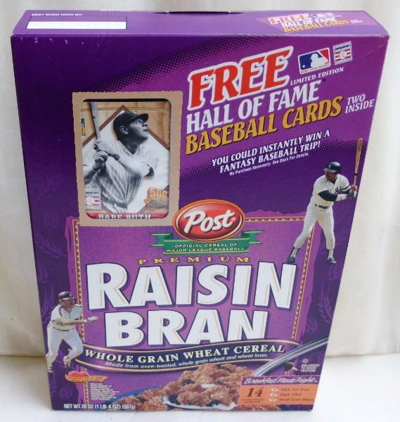 Babe Ruth Empty Box(H Of F Baseball Card! Post Raisin Bran) (0)