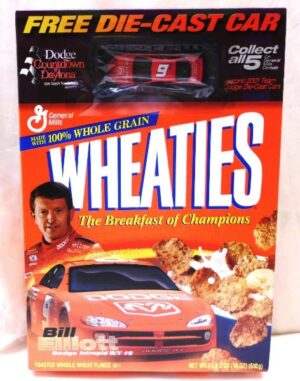 "Bill Elliott #9 Die-Cast 1:64 Scale ""Dodge Daytona Countdown-Wheaties Collectors Cereal Box & Car Edition"" (General Mills) ""Rare-Vintage"" (2001)"