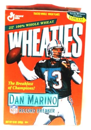 "Wheaties NFL Record Breaker Box ""Dan Marino Miami Dolphins Collectors Cereal Box Edition"" (Wheaties-General Mills) ""Rare-Vintage"" (1996)"