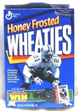 "Wheaties Prime Time Sega Sports Box ""starring Deion Sanders #21 Collectors Honey Frosted Cereal Box Edition"" (Wheaties-General Mills) ""Rare-Vintage"" (1996)"