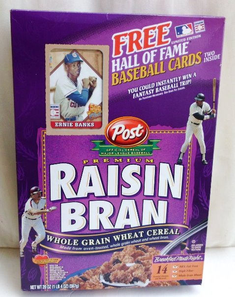 Ernie Banks Empty Box(H Of F Baseball Card! Post Raisin Bran) ( 0)