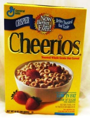 "Gold Cheerios Embossed Image Box ""New Gold Embossed ""Cheerios"" Collectors Cereal Box Edition"" (General Mills) ""Rare-Vintage"" (1996)"
