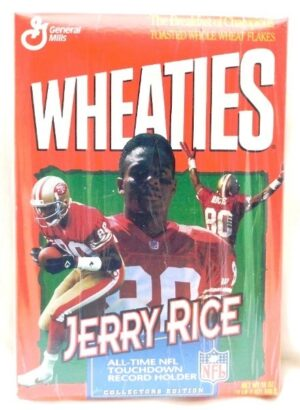 "Wheaties NFL Record Holder Box ""Jerry Rice 49ers All-Time NFL Touchdown Collectors Cereal Box Edition"" (Wheaties-General Mills) ""Rare-Vintage"" (1995)"