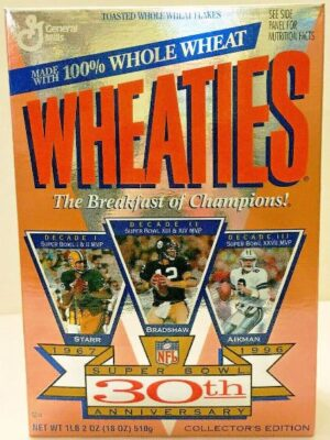 "Wheaties Super Bowl 30th ""Anniversary 1967-1996 Collectors Cereal Box Edition"" (Wheaties-General Mills) ""Rare-Vintage"" (1996)"