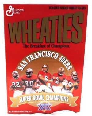 "Wheaties Super Bowl XXIX Box ""San Fransisco 49ers 5-Time Champions Collectors Cereal Box Edition"" (Wheaties-General Mills) ""Rare-Vintage"" (1995)"