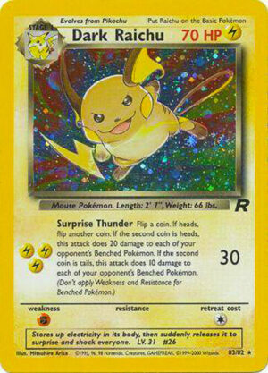 83 Dark Raichu (Error Card Number) 83-82 Team Rocket