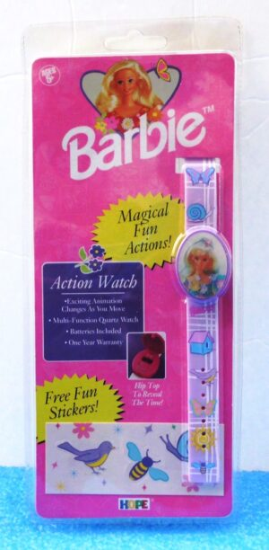 """Barbie Action Watch (""""Vintage-Motion Flip Cover To Reveal Time Collector Timepiece"""") Hope Inc. Collection Series """"Rare-Vintage"""" (1996)"""