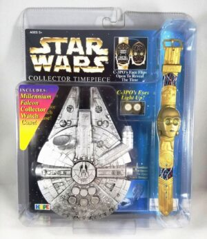"""C-3PO Collector Timepiece """"(w/Light-Up Eyes & Millennium Falcon Collector Watch Case)"""" Star Wars The Power Of The Force Vintage Collection Series """"Rare-Vintage"""" (1996)"""