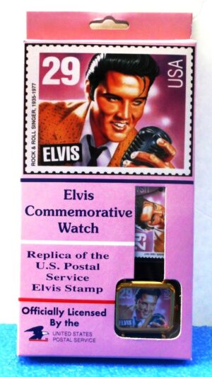 """Elvis Commemorative Watch (""""U. S. Postal Service Vintage 29 Cents Stamp-Watch"""") Limited Edition Effectron Corp. Collection Series """"Rare-Vintage"""" (1992)"""