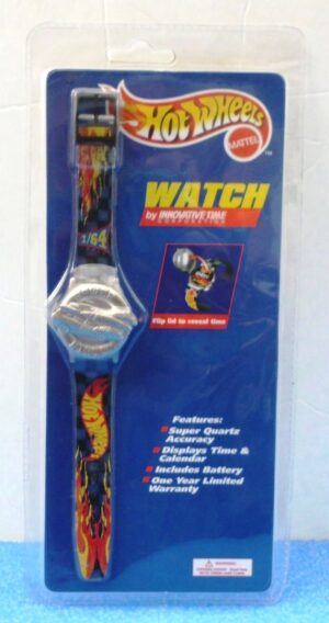"""Hot Wheels Watch (""""Power Pistons Silver Vintage Collectible Wrist Watch"""") Innovation Time CorpCollection Series """"Rare-Vintage"""" (1998)"""