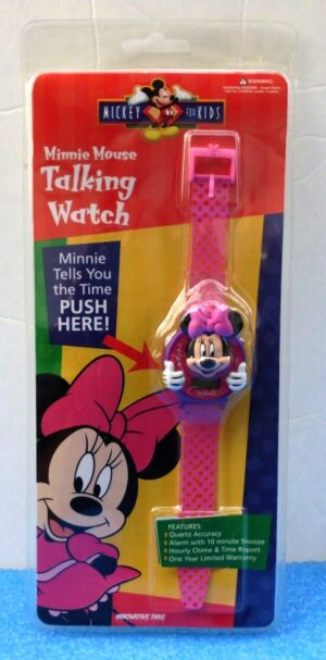 """Minnie Mouse Talking Watch (""""Vintage Collectible Wrist Watch-Mickey For Kids Series"""") Innovation Time CorpCollection Series """"Rare-Vintage"""" (1998)"""