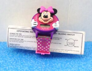 """Minnie Mouse Talking Watch """"Opened No-Packaging"""" (""""Vintage Collectible Wrist Watch-Mickey For Kids Series"""") Innovation Time CorpCollection Series """"Rare-Vintage"""" (1998)"""
