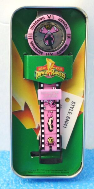 """Pink Ranger Kimberly (""""Limited Edition Vintage Tin & Wrist Watch w/Engraved Logo On Back Side"""")Mighty Morphin Power Rangers Collection Series""""Rare-Vintage"""" (1994)"""