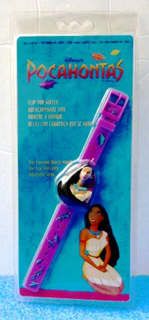 """Pocahontas Watch (""""Vintage-Flip Cover To Reveal Time Collector Timepiece"""") Disney's Collection Series """"Rare-Vintage"""" (1996)"""