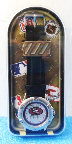 """San Francisco 49ers Watch (""""Limited Edition Vintage Sports Champions Watch w/Plexi-Glass Case & Black Genuine Leather Wrist Band"""") Avon Collection Series """"Rare-Vintage"""" (1998)"""
