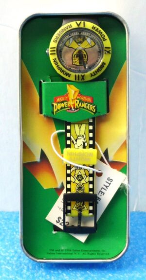 """Yellow Ranger Trini (""""Limited Edition Vintage Tin & Wrist Watch w/Engraved Logo On Back Side"""")Mighty Morphin Power Rangers Collection Series""""Rare-Vintage"""" (1994)"""