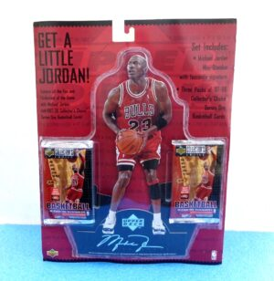 Michael Jordan (Get A Little Jordan Mini Standee) & 1997 3-Pack Cards (2)