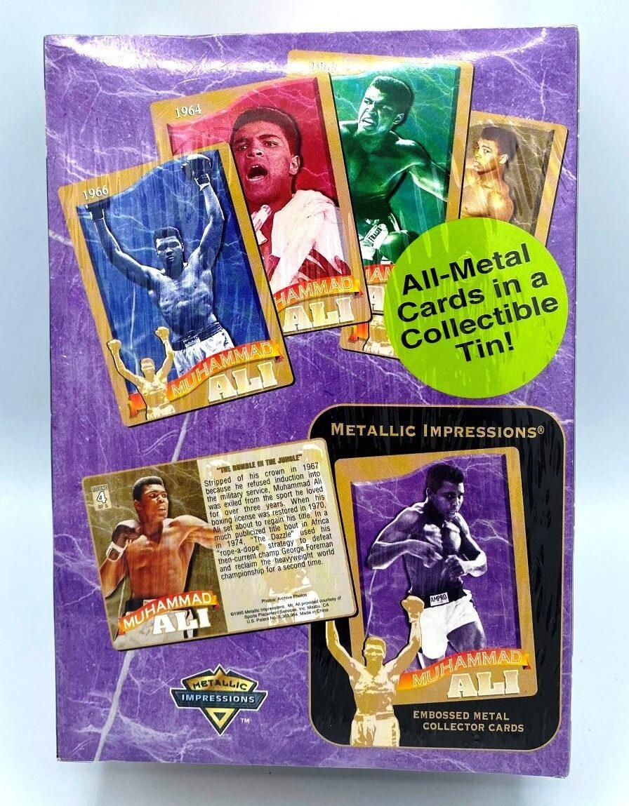 1995 MUHAMMAD ALI Embossed Metal Collector Tin 5-Card Set-2