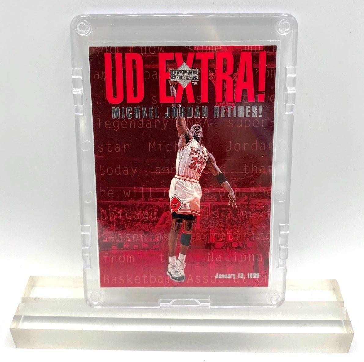 1999 UD EXTRA! Michael Jordan RETIRES! (January 13, 1999 Card #UDX) (1)