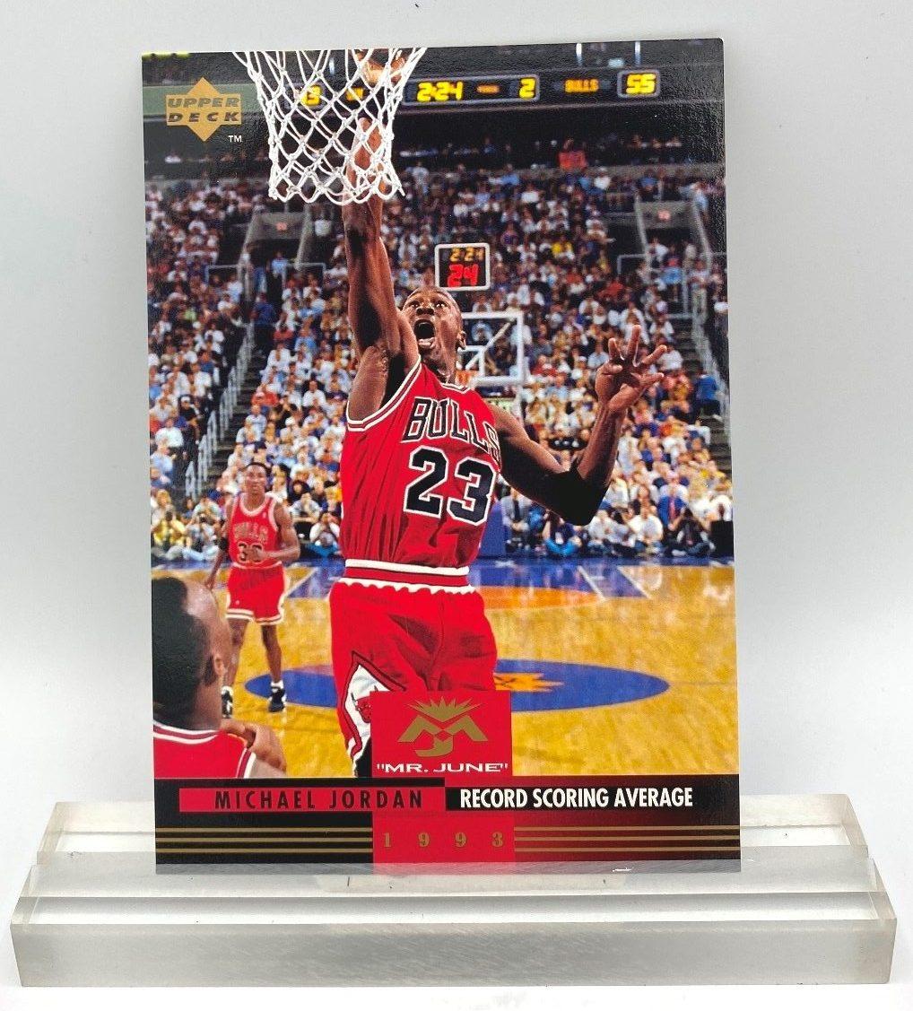 1993 Upper Deck Mr June Record Scoring Average (Michael Jordan) 3.5x5 (2pcs) Card # MJ8 (1)