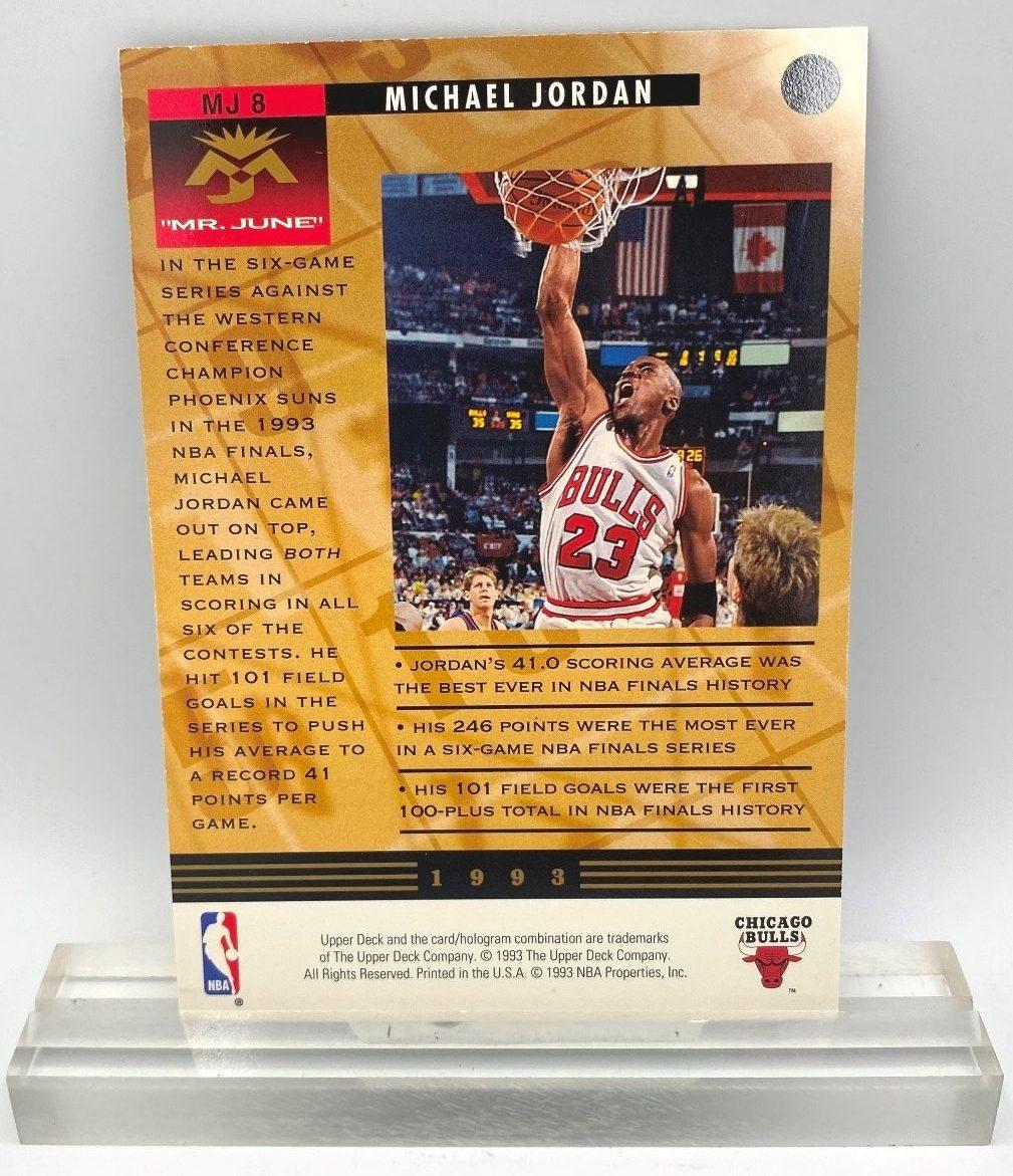 1993 Upper Deck Mr June Record Scoring Average (Michael Jordan) 3.5x5 (2pcs) Card # MJ8 (4)