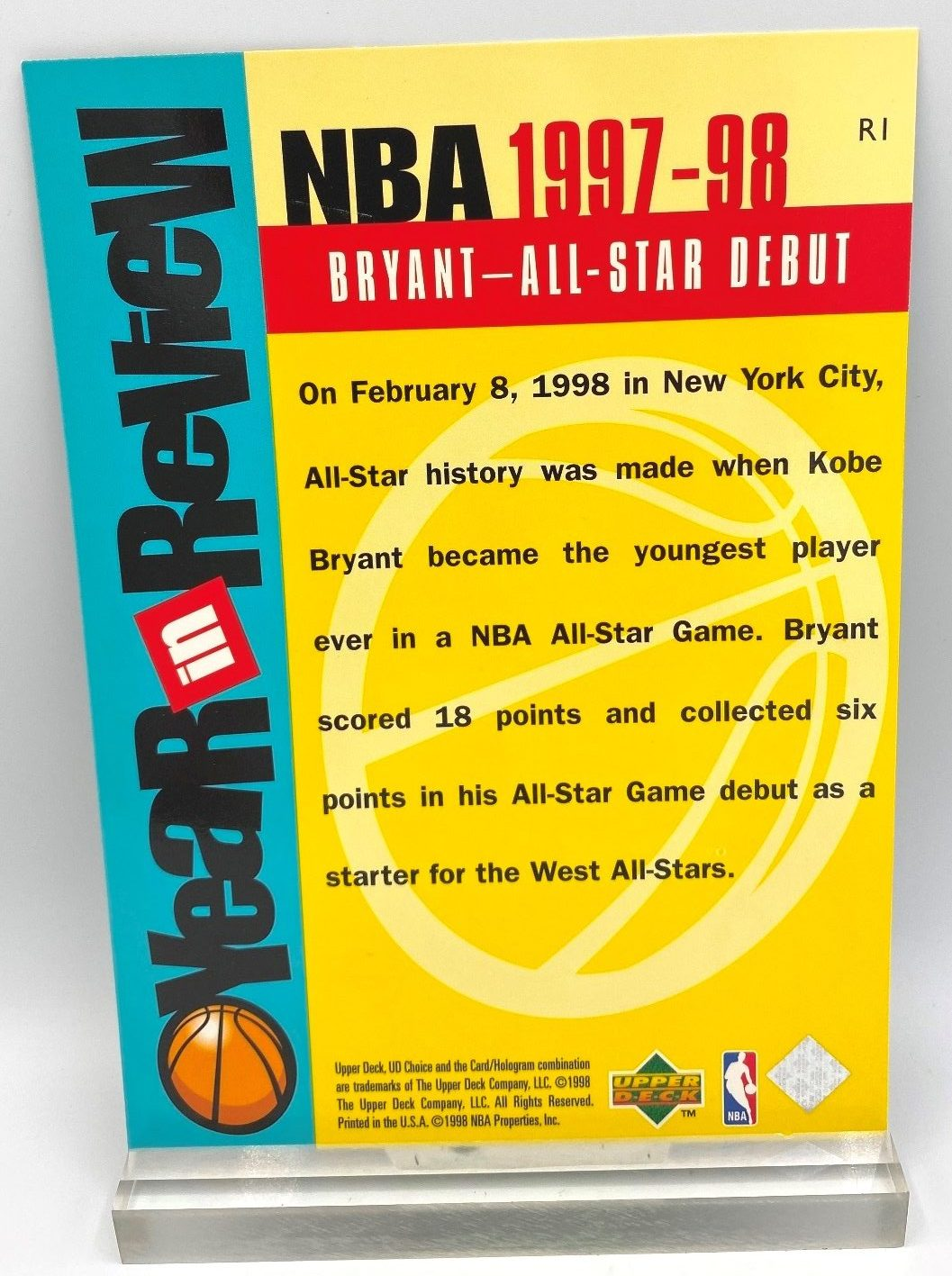 1997-98 Upper Deck All-Star Debut (Kobe Bryant) Year In Review 5x7 (1pc) Card # R1 (4)