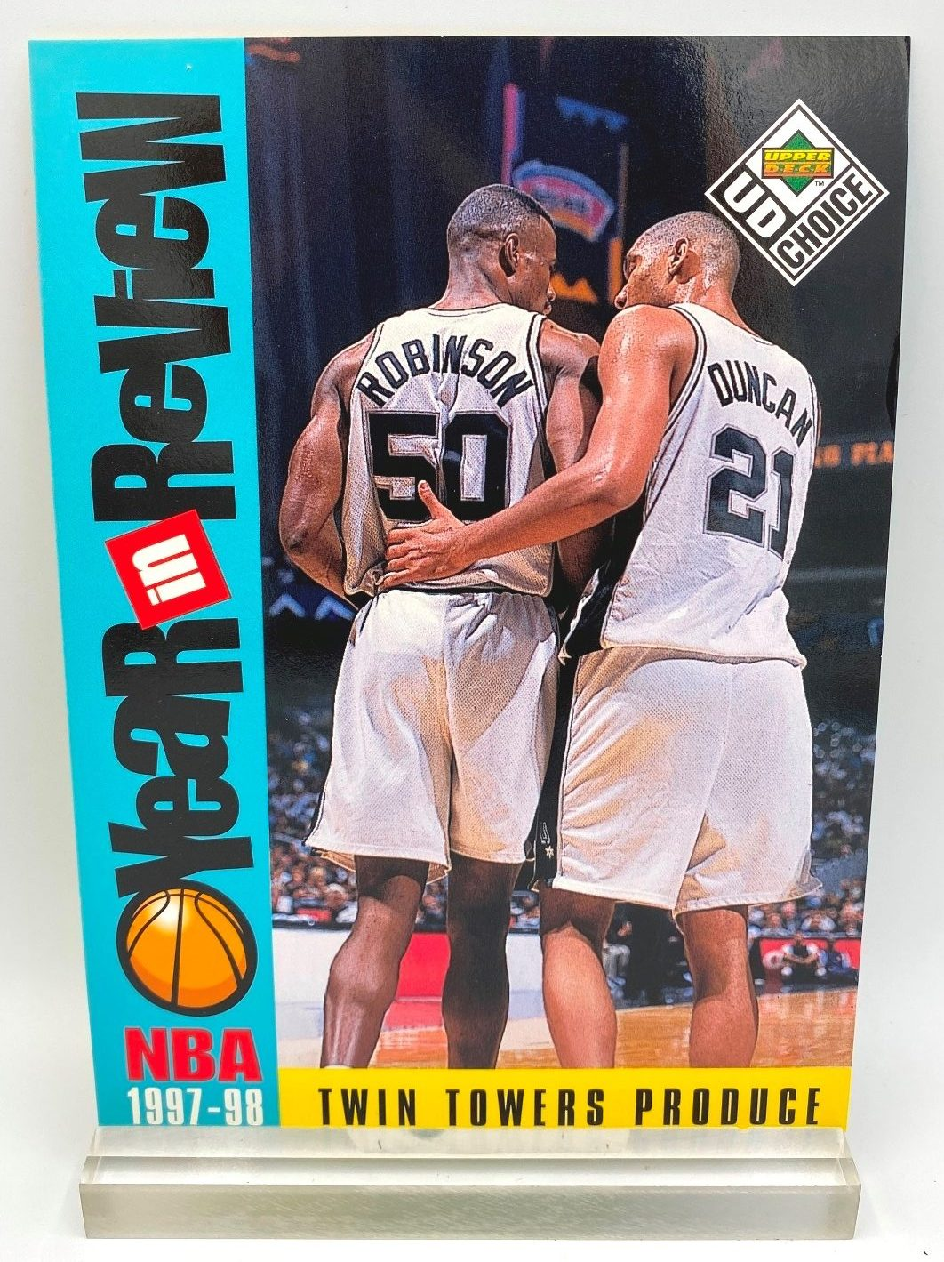1997-98 Upper Deck NBA Twin Towers Produce (Robinson-Duncan) Year In Review 5x7 (1pc) Card # R3 (1)