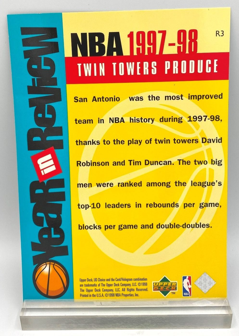 1997-98 Upper Deck NBA Twin Towers Produce (Robinson-Duncan) Year In Review 5x7 (1pc) Card # R3 (4)